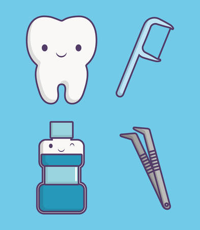 dental care related icons blue over background colorful design vector illustration Illustration
