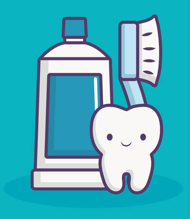 dental care related icons over blue background colorful design vector illustration
