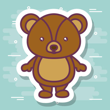Teddy bear icon over turquoise colorful design illustration
