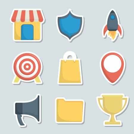 Icon set of digital and online marketing theme Vector illustration Illustration