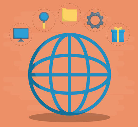Globe and icon set of digital and online marketing theme Vector illustration Illustration