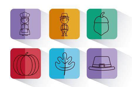 Icon set of happy thankgsgiving and autumn season theme Vector illustration