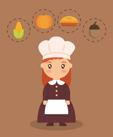 Girl of happy thankgsgiving and autumn season theme Vector illustration Illustration