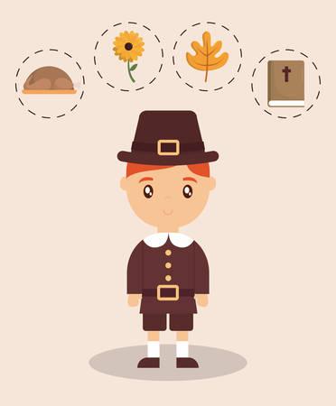 Kid of happy thankgsgiving and autumn season theme Vector illustration Illustration