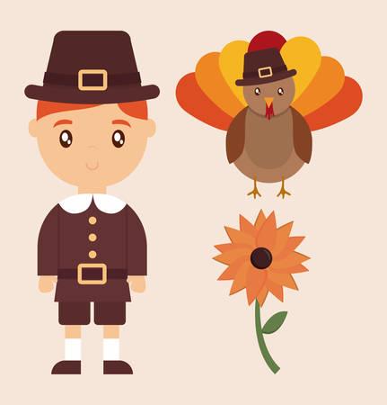 Turkey and kid of happy thankgsgiving and autumn season theme Vector illustration