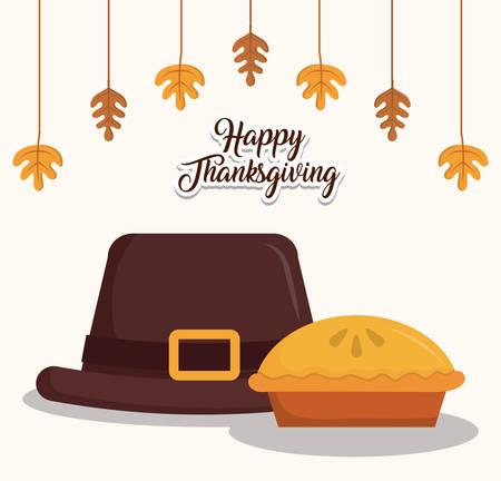 Hat of happy thanksgiving and autumn season theme Vector illustration Illustration