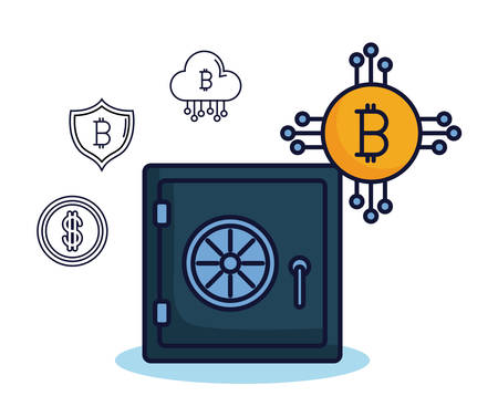 Strongbox of bitcoin market money and financial theme Vector illustration Illustration