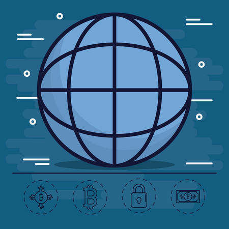metal net: Globe of bitcoin market money and financial theme Vector illustration