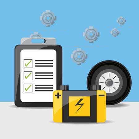 Batterie von Autoservice und Maschinenreparaturthema Vektorillustration