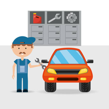 Automobile and man of car service and machine repair theme Vector illustration