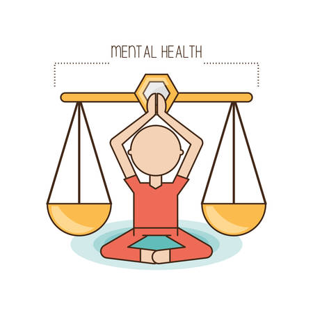 Scale and cartoon of mental heath mind and peaceful theme Vector illustration