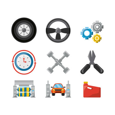 car wash: Tools of car service and machine repair theme Vector illustration Illustration
