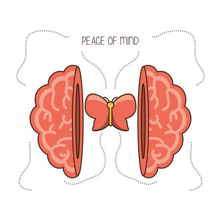 Brain and butterfly of mental heath mind and peaceful theme Vector illustration
