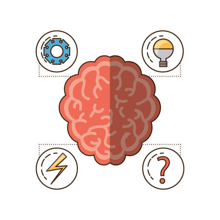 Brain and icon set of mental heath mind and peaceful theme Vector illustration Ilustrace