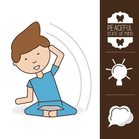 Boy of mental heath mind and peaceful theme Vector illustration