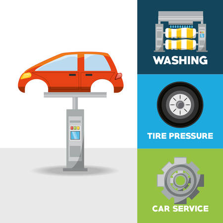 car wash: Automobile of car service and machine repair theme Vector illustration