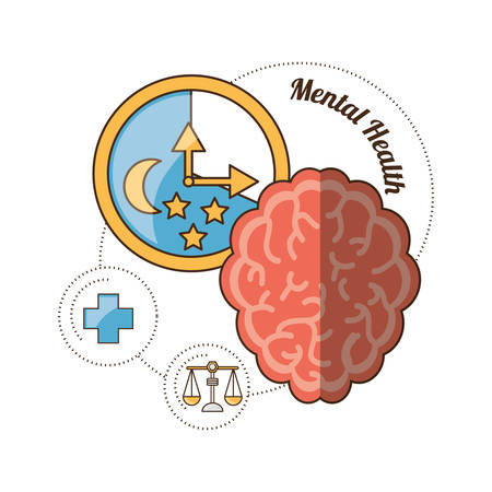 Brain of mental heath mind and peaceful theme Vector illustration