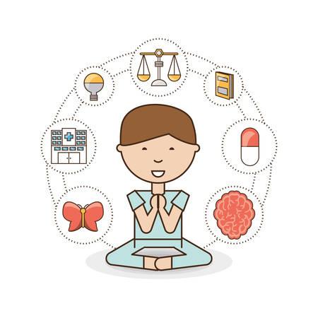heath: Boy of mental heath mind and peaceful theme Vector illustration