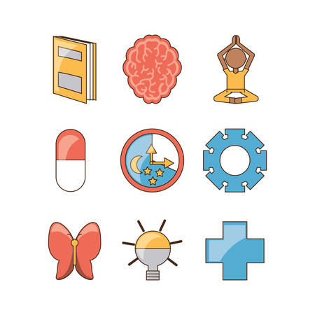 Icon set of mental heath mind and peaceful theme Vector illustration
