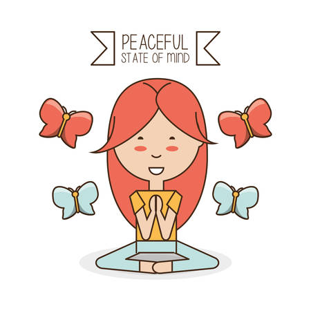 Girl of mental heath mind and peaceful theme Vector illustration