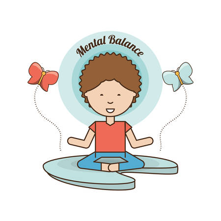 Boy of mental heath mind and peaceful theme Vector illustration Stock Vector - 87280396