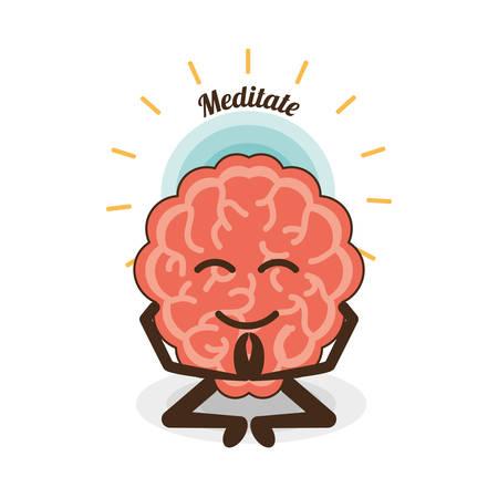 Gehirn-Cartoon von geistigen Heide Geist und friedliche Thema Vektor-Illustration