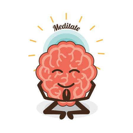 Brain cartoon of mental heath mind and peaceful theme Vector illustration
