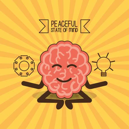 Brain cartoon of mental heath mind and peaceful theme Vector illustration