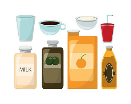 Ingredients of tasty food menu and restaurant theme Vector illustration