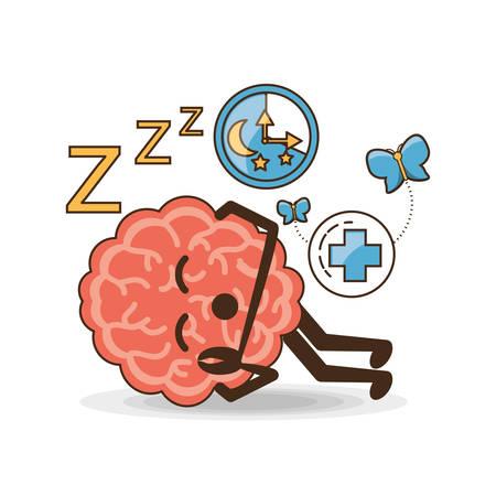 heath: Brain cartoon of mental heath mind and peaceful theme Vector illustration