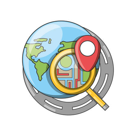 Gps and planet of travel navigation and route theme Vector illustration
