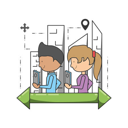 Gps girl and boy of travel navigation and route theme Vector illustration