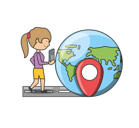 global positioning system: Gps and girl of travel navigation and route theme Vector illustration