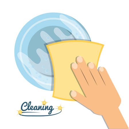 Sponge and hand of cleaning service home work and hygiene theme Vector illustration