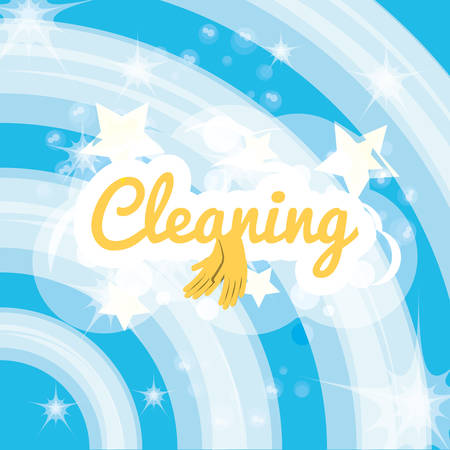 Blue background of cleaning service home work and hygiene theme Vector illustration Illustration