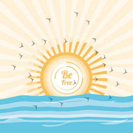 Sun and sea of freedom lifestyle and raised theme Vector illustration