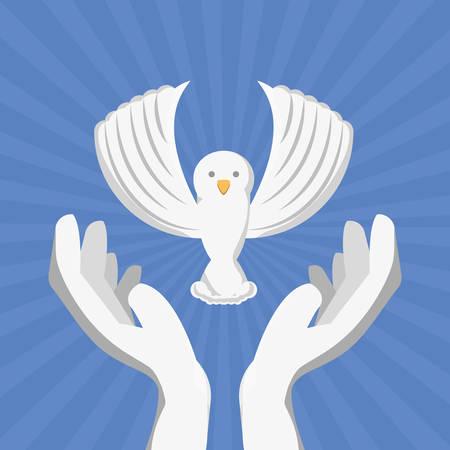 Bird of freedom lifestyle and raised theme Vector illustration
