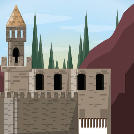 Castle and pine trees of palace medieval and fairytale theme Vector illustration 向量圖像