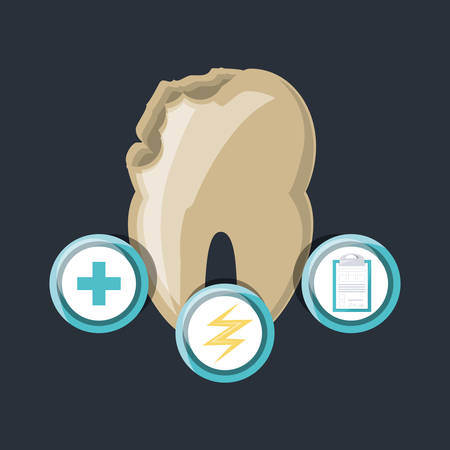 Tooth of dental care health hygiene and medical theme Vector illustration