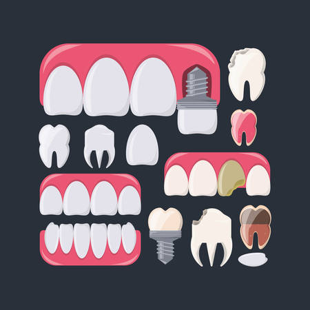 Teeth of dental care health hygiene and medical theme Vector illustration Illustration