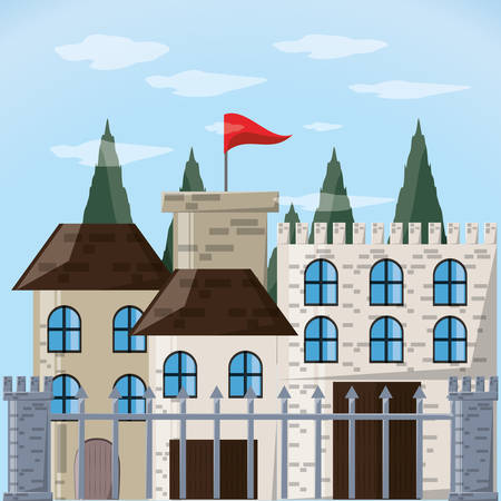 Castle and pine trees of palace medieval and fairytale theme Vector illustration Illustration