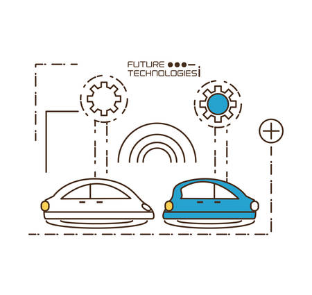 multimedia icons: Cars and gears of future technologies virtual and electronic theme Vector illustration Illustration