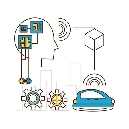 multimedia icons: Head and car of future technologies virtual and electronic theme Vector illustration Illustration