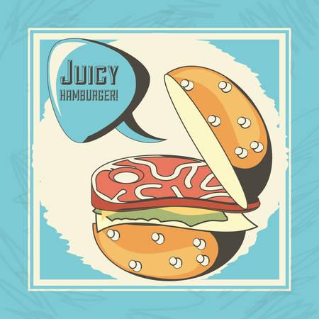 Hamburger of fast food urban and menu theme Vector illustration Illustration