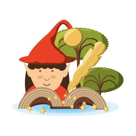 Elf of fairytale fantasy and magic theme Vector illustration Illustration