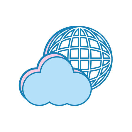 flat  line colored cloud with  global connect  over white background  vector illustration