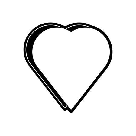 flat line monochromatic heart over white background  vector illustration