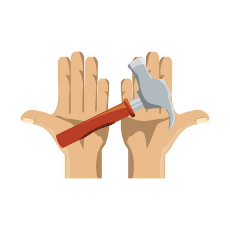 hand holding a hammer icon over white background vector illustration Illustration