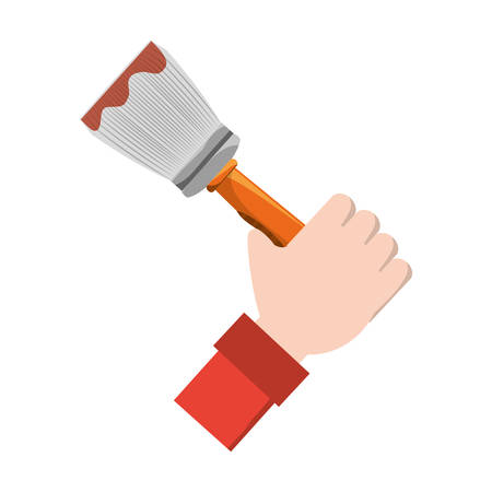 hand holding a paint brush icon over white background vector illustration