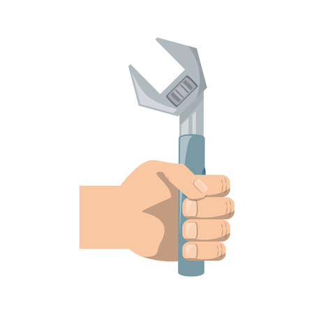 hand holding a wrench tool icon over white background vector illustration